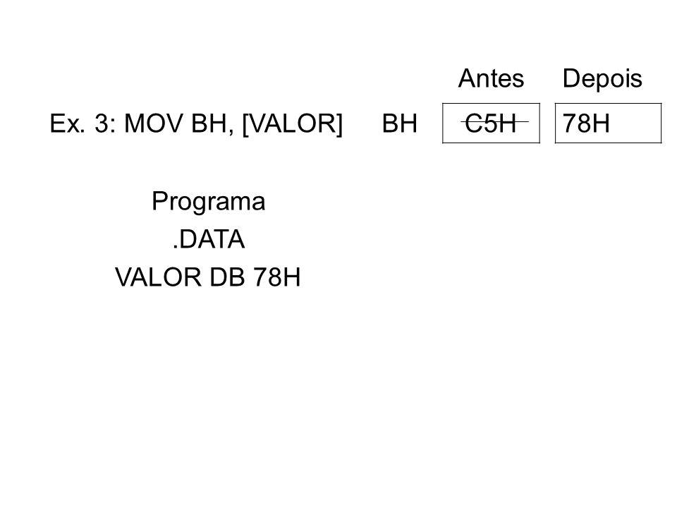 Antes Depois Ex. 3: MOV BH, [VALOR] BH C5H 78H Programa .DATA VALOR DB 78H